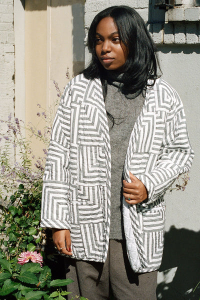 Haptic Lab Grey Checkered Quilt Coat