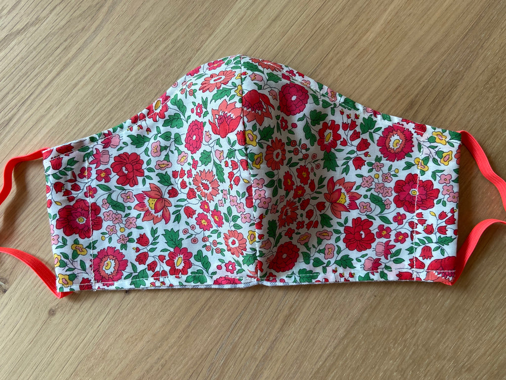 Liberty of London fabric Face Mask - poppy