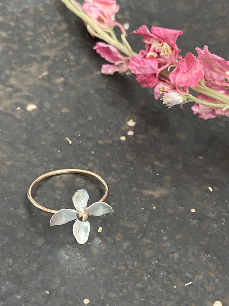 Halcyon Jewelry - Hydrangea Ring - Silver/ Gold