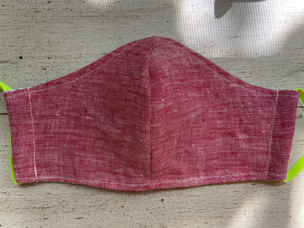 Linen Face Mask - Cherry Red