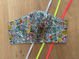 Liberty of London fabric face mask - Map Print