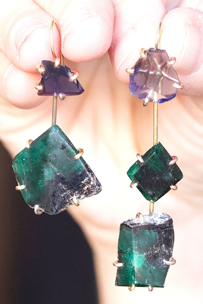 Variance Objects Iolite and Brazilian Emerald Day to Night Earring