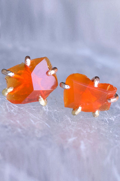 Variance Objects Mexican Fire Opal Studs