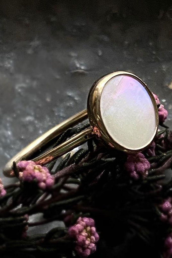 Halcyon Jewelry White Pearl Medallion Ring