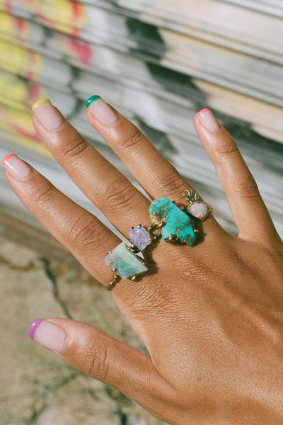Variance Object Zambian Turquoise Large Stone Ring