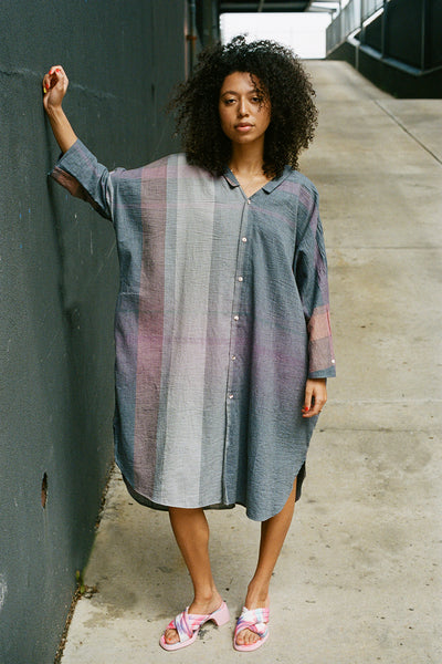 Purple Grey Hibi Shirt Dress