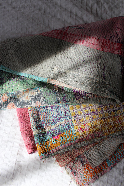 Rainbow Patch Kantha Quilt