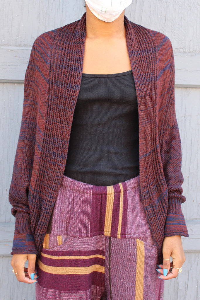 Tamaki Niime Rust/Blue Knit Cardigan
