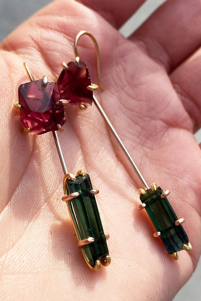 Variance Objects Malawi Garnet and Tourmaline Day to Night Earring