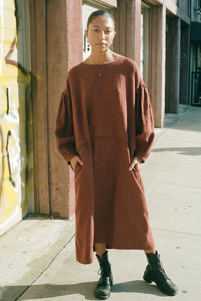 Muku Rust Balloon Sleeve Dress