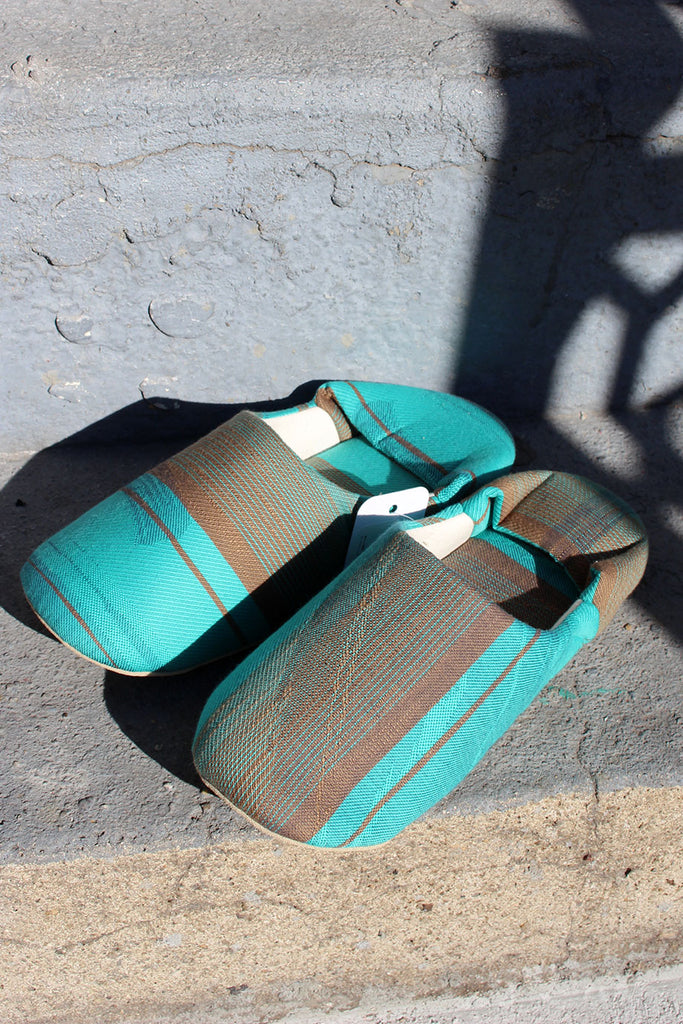 Tamaki Niime Turquoise Scuff House Slippers