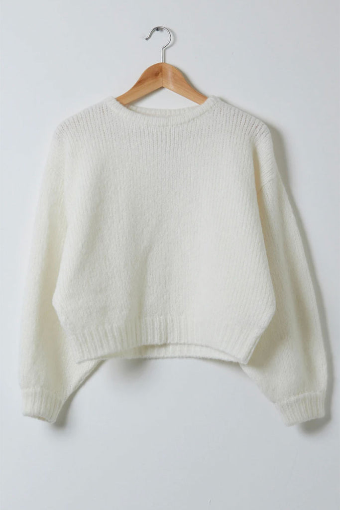 Atelier Delphine White Balloon Sleeve Sweater