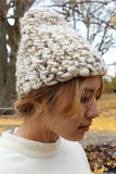 Mischa & Co Knit White/Gold Beanie