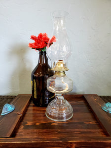 "17"" Vintage Clear Glass Oil Lamp"