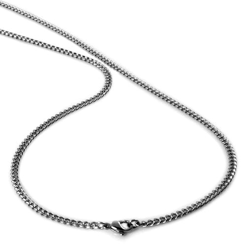"4MM Men's Stainless Steel Curb Chain Necklace 22"" and 24"""