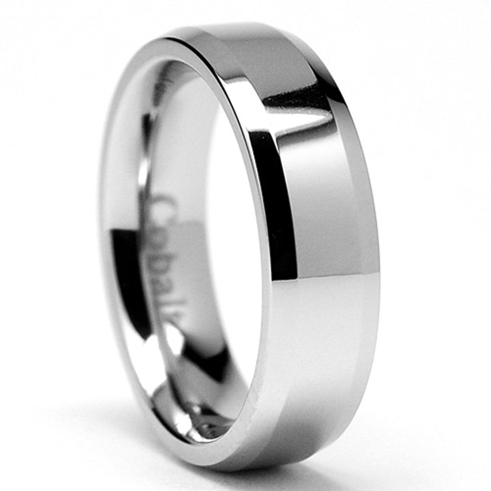 6MM High Polish Men's Cobalt Chrome Ring Wedding Band  Sizes 6 to 12