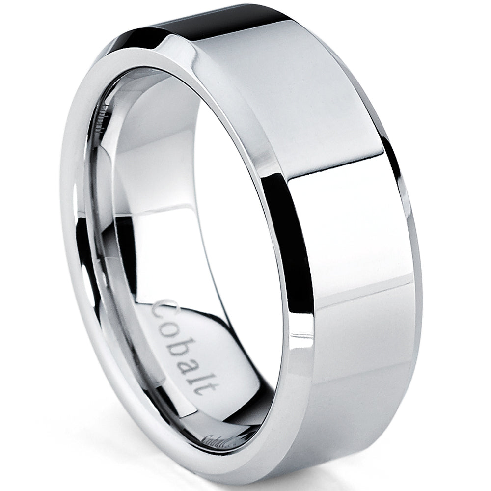 Cobalt Chrome Men's High Polish Wedding Band Ring, Comfort Fit 8mm, Sizes 7 to 12