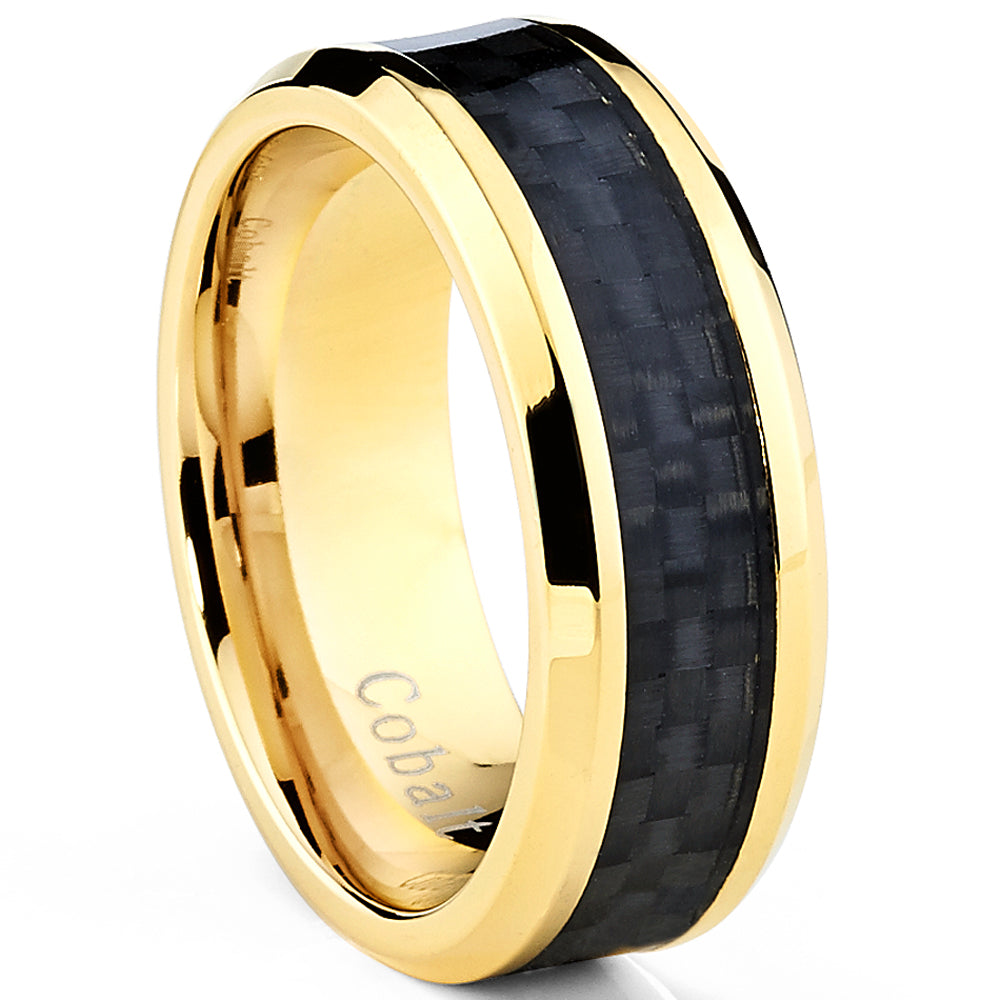 Goldtone Plated Men's Cobalt Wedding Band Ring with Black Carbon Fiber Inlay  8mm