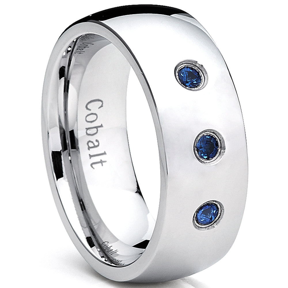 8MM Dome Coblat Men's Ring Wedding Band with Blue Sapphire Stone, Comfort Fit 0.12 TWC