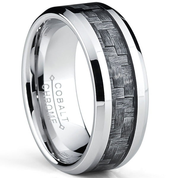 High Polish Cobalt Men's Wedding Band Engagement Ring W/ Gray Carbon Fiber Inlay, Comfort Fit 8MM