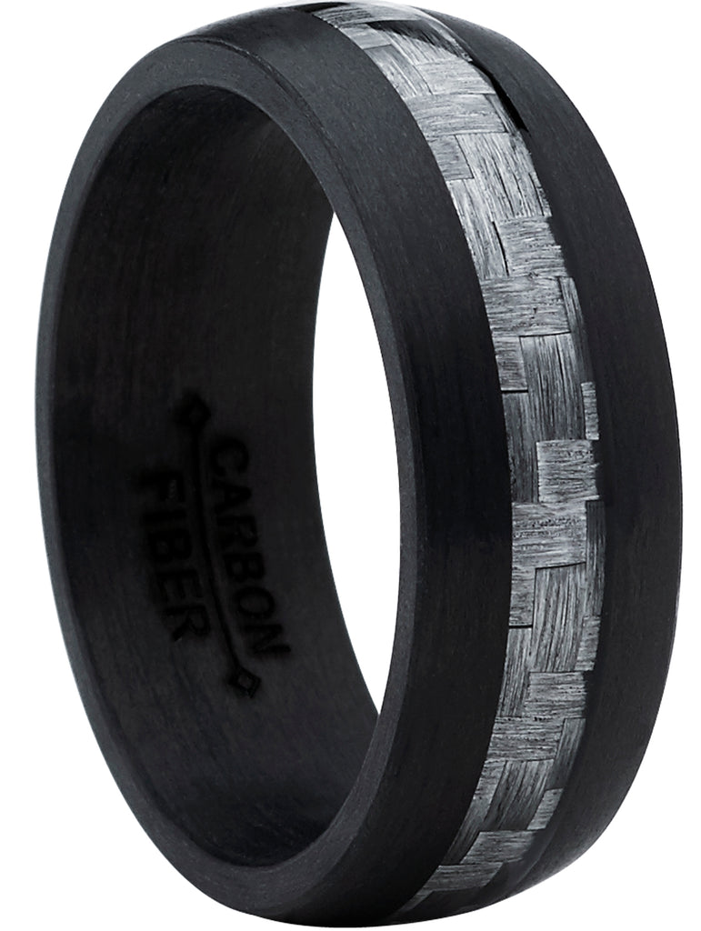Men's Black Pure Carbon Core Wedding Ring Band Gray Carbon Fiber Inlay 8MM