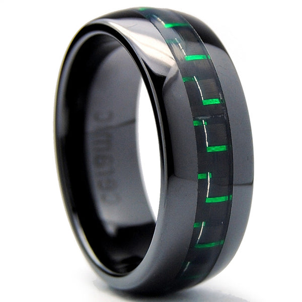 8MM Dome Men's Black Ceramic Ring Wedding Band With Black & Green Carbon Fiber Inaly Sizes 5 to 15