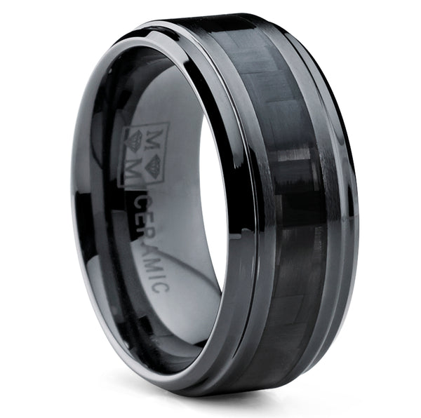 Men's 9MM Black Ceramic Wedding Band Ring with Wide Black Carbon Fiber Inlay, Comfort Fit