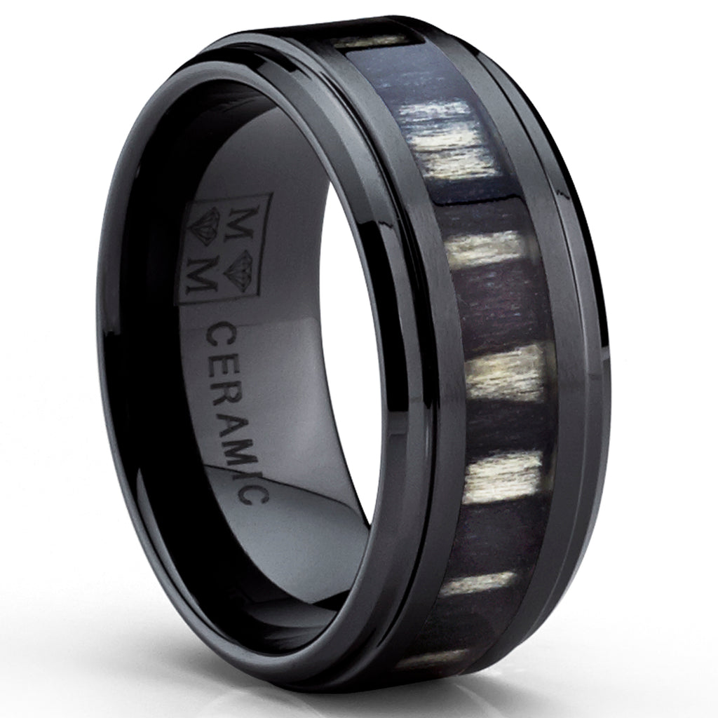9MM Black Ceramic Wedding Band Ring with Real Zebra Wood Inlay, Comfort Fit