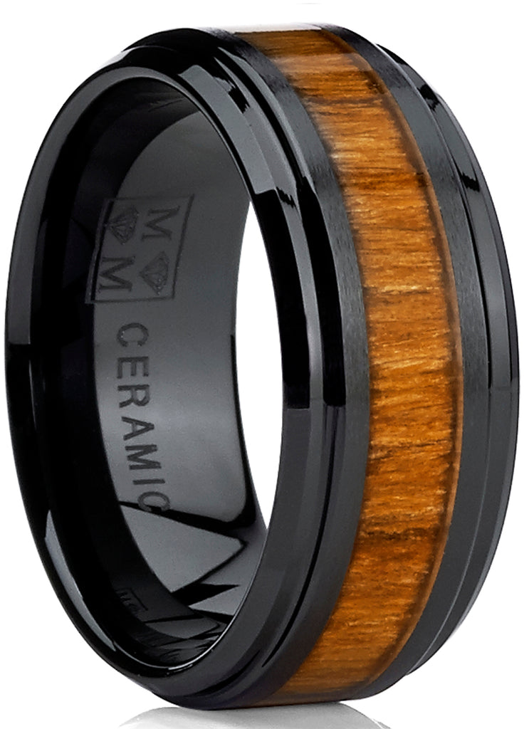 Men's Black Ceramic Beveled Edge Wedding Ring Band with Real Koa Wood Inlay, 9MM Comfort Fit
