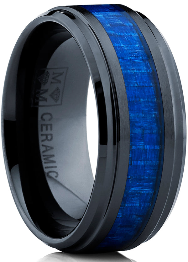 Men's Black Ceramic Beveled Edge Wedding Ring Band with Real Blue Carbon Fiber Inlay, 9MM Comfort Fit