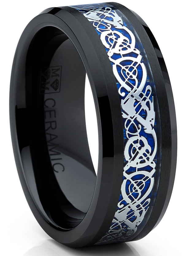 Black Ceramic Men's Wedding Ring Engagement Band with Blue Carbon Fiber and Dragon Design