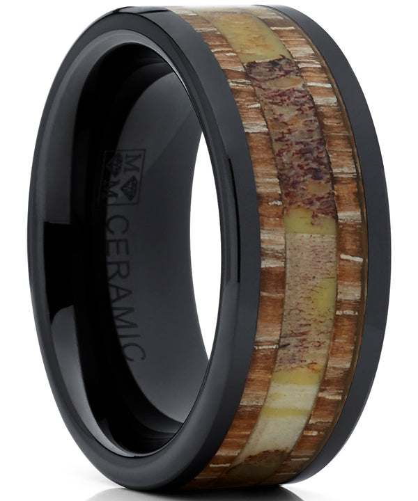 Men's Black Ceramic Ring Wedding Band with Real Antler and Wood Inlay, Outdoor Hunting, Comfort Fit