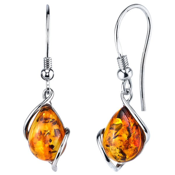 Sterling Silver Baltic Amber Drop Dangle Earrings Cognac Color 1.35 inches long