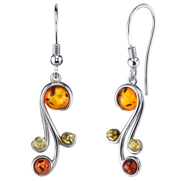 d875c024b29177 Sterling Silver Baltic Amber Multi Color Spiral Drop Dangle Earrings Honey  Cognac yellow and Olive Colors