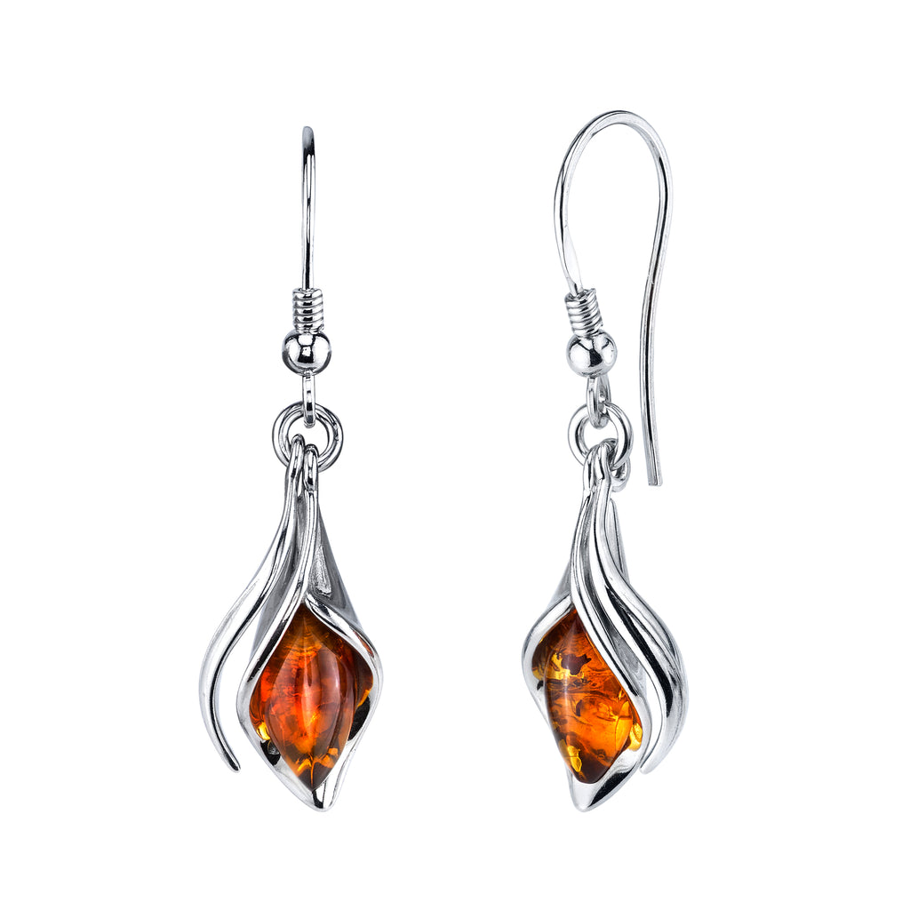 Sterling Silver Baltic Amber Drop Dangle Calla Lily Flower Earrings Cognac 1.5""