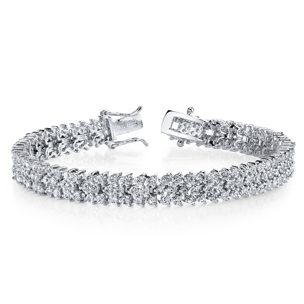Sterling Silver .925 Round-Cut 3 Row Cubic Zirconia Tennis Bracelet, 4.0 TCW of CZ 7""