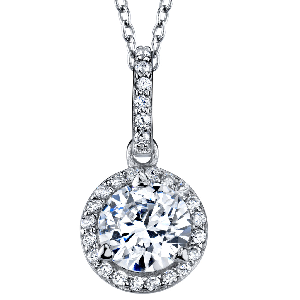 "Sterling Silver 925 Round Cubic Zirconia Pendant Halo Necklace 18"" Rolo Chain"