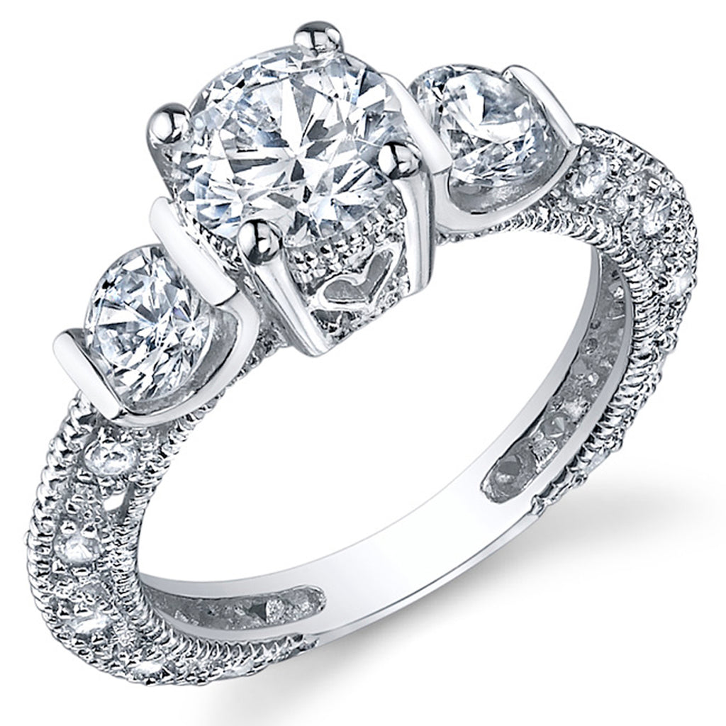 Women's Sterling Silver Wedding Engagement Ring Cubic Zirconia Sizes 5 –  Metal Masters Co.