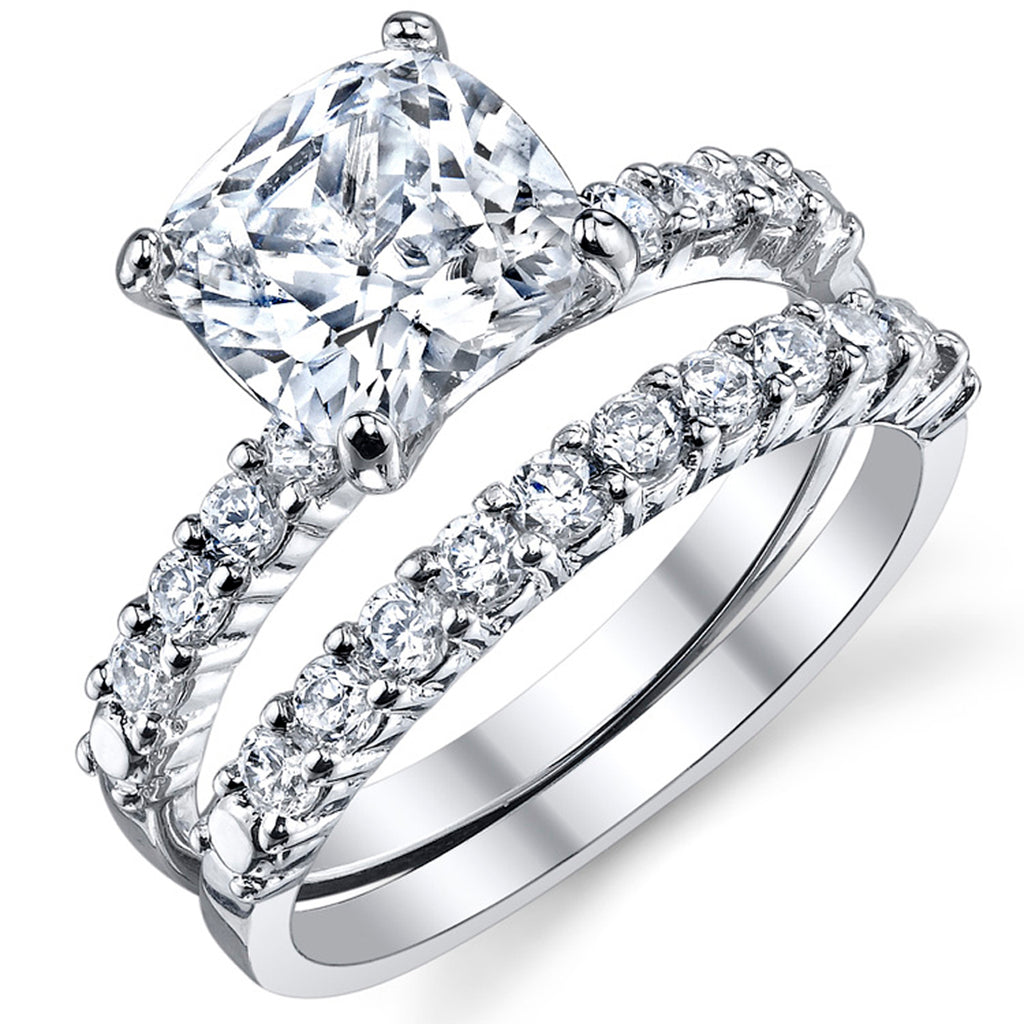 Cushion Square Cut Cz Black Stainless Steel Wedding Engagement 3 Ring Set Size 5,6,7,8,9 /& 10