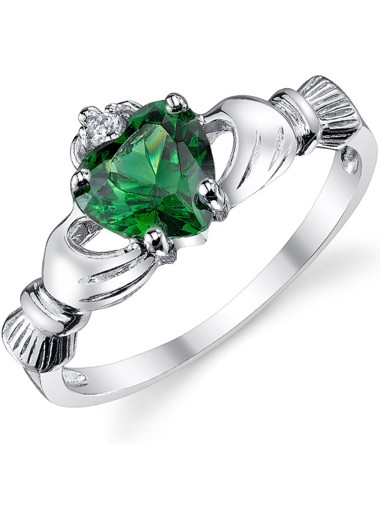 Women's Sterling Silver 925 Irish Claddagh Friendship Love Ring Simulated Emerald Green Heart Cubic Zirconia