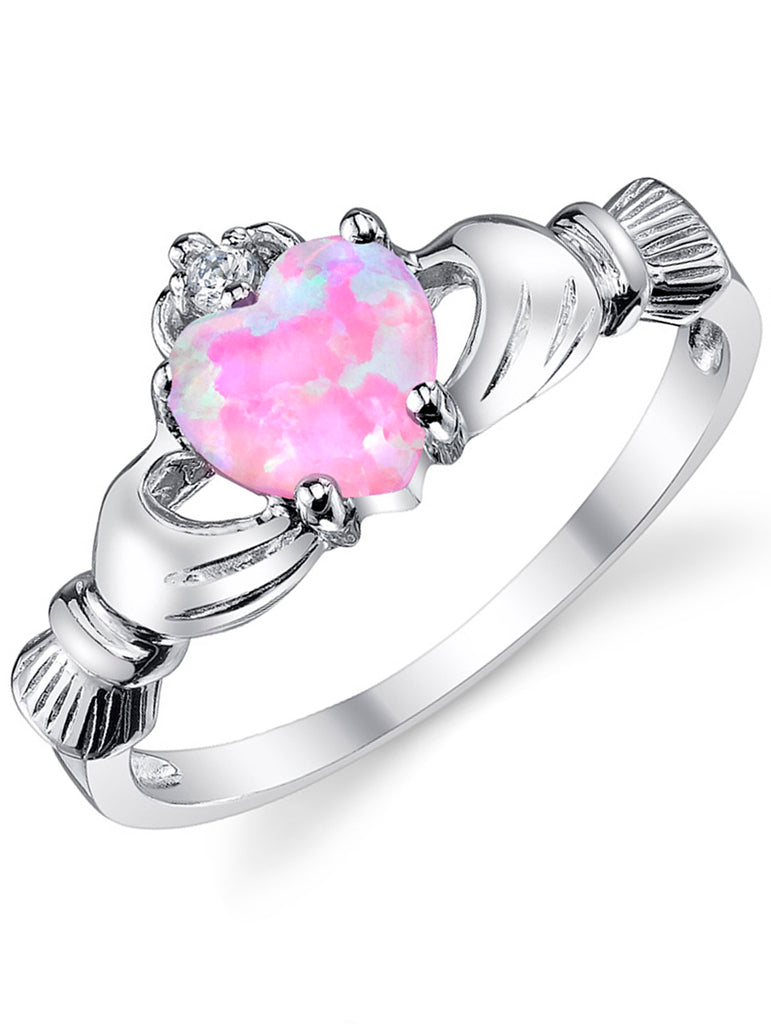 Women's Sterling Silver 925 Irish Claddagh Friendship Love Ring Pink Simulated Opal Heart