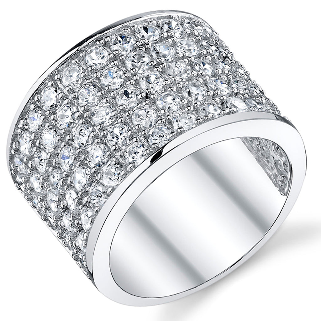 Large Stainless Steel Mens Round Clear CZ Ring-Sizes 8-13