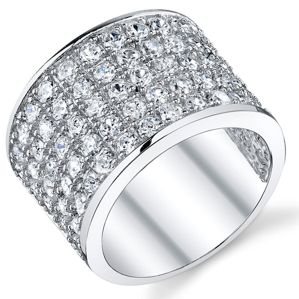 David Beckham Sterling Silver Men's Championship Cubic Zirconia CZ Band Ring 15 MM Sizes 8 to 13