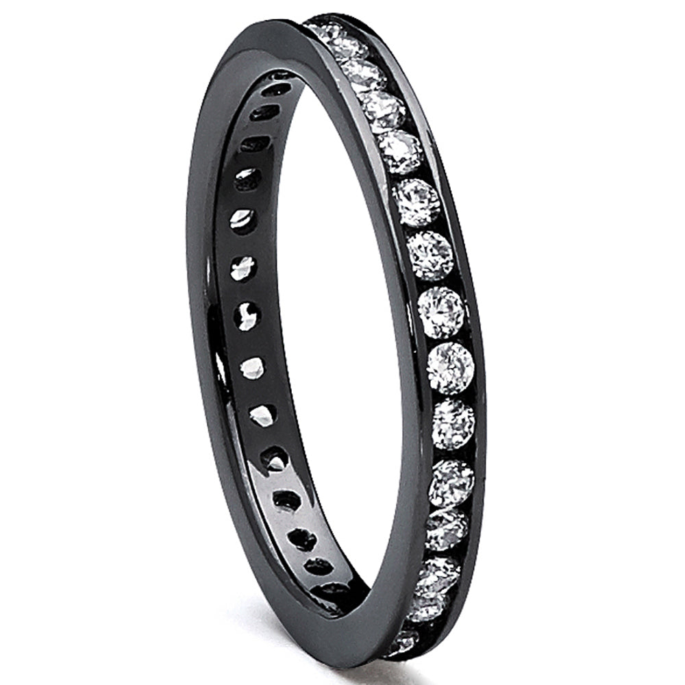 Sterling Silver 925 Women's Black plated Eternity Ring Engagement wedding  Band with Cubic Zirconia
