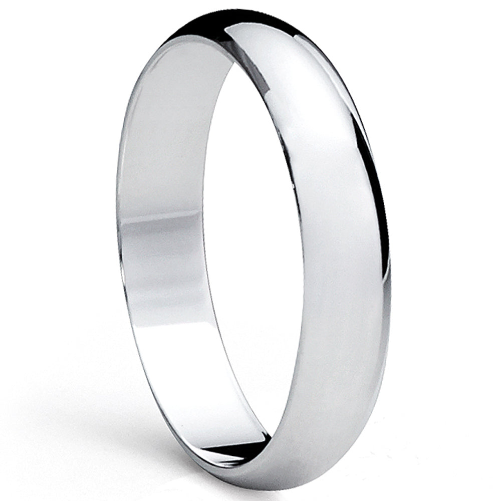 Sterling Silver Ring High Polish Plain Dome Comfort Fit Wedding Band 4mm Ring
