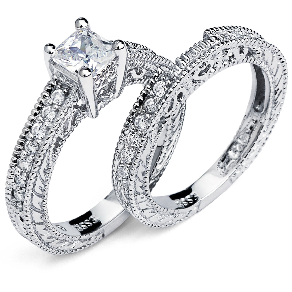Women's Sterling Silver 925 Princess Cut Carved Bridal Set Engagement Ring Wedding Cubic Zirconia