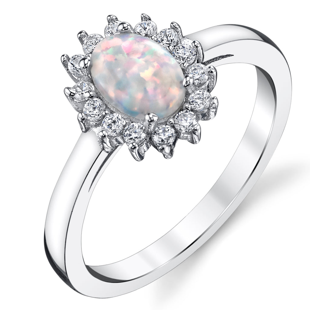 Women's Oval Shape Simulated Opal Halo Ring Sterling Silver Cubic Zirconia Sizes 5-9