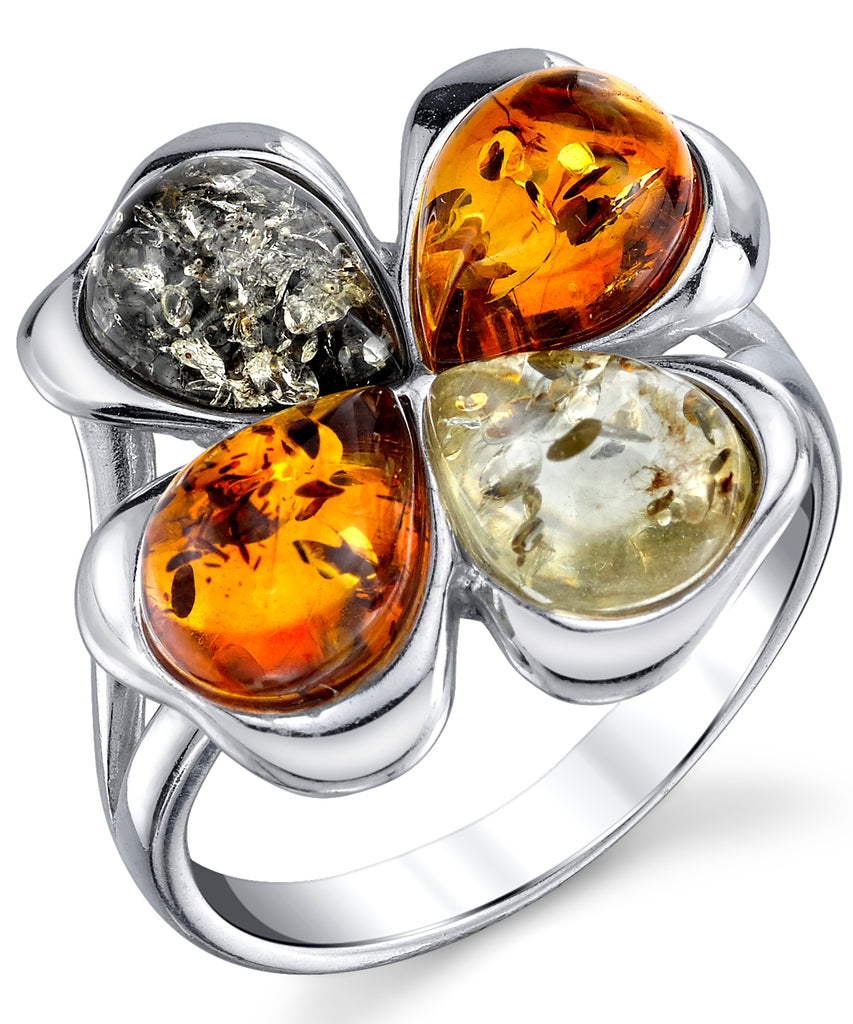 Women's Sterling Silver Baltic Amber Clover Leaf Ring Honey Cognac Olive Colors 5-9