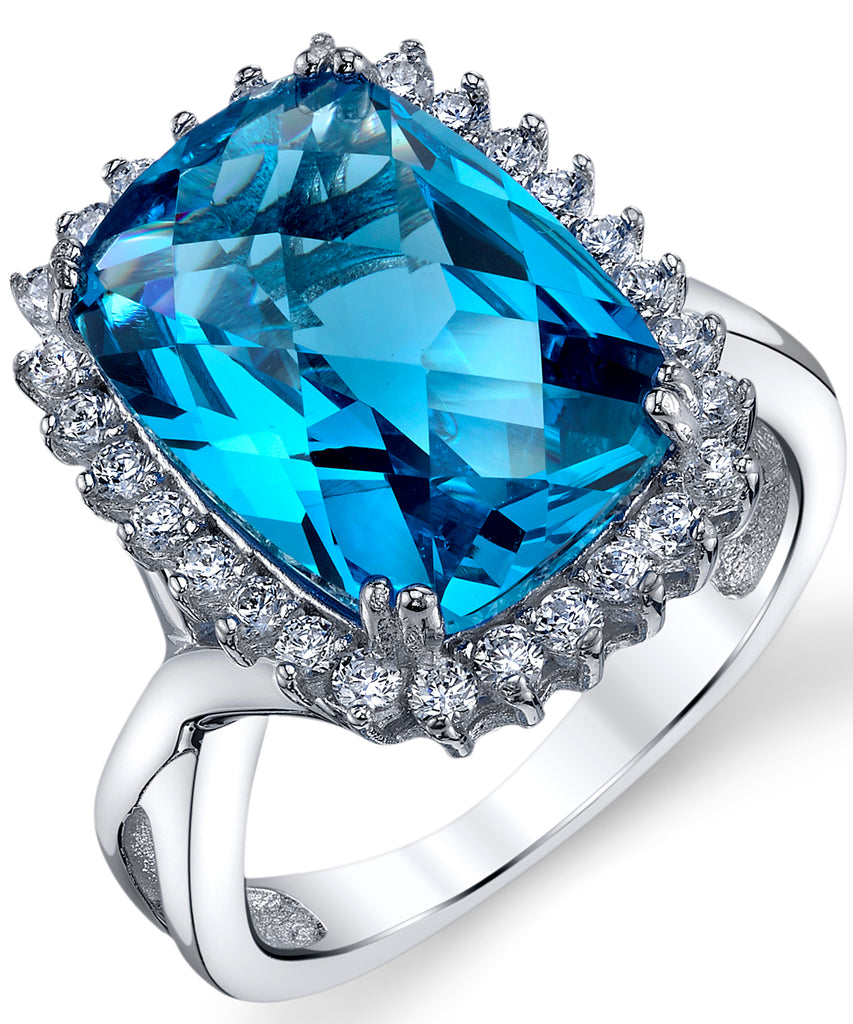 Women's Swiss Blue Simulated Topaz Cushion Checkerboard Cut 6 Carat Cubic Zirconia Sterling Silver Halo Engagement Ring