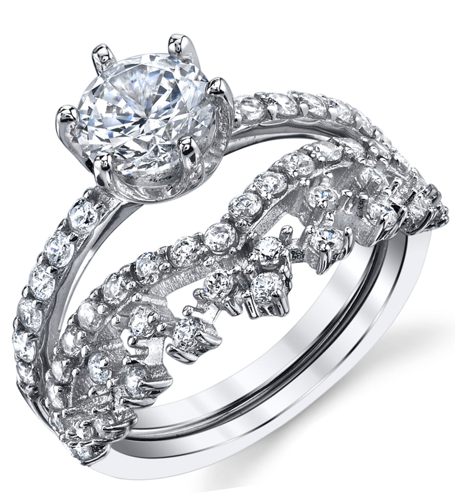 Sterling Silver Crown Tiara Engagement Ring Bridal Set With Cubic Zirconia